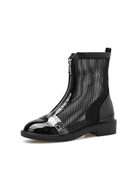 Patchwork Gauze Hollow Letter Black Ankle Boots