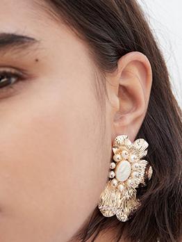 Pearl Decor Alloy Flower Earrings For Women