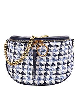 Geometric Pattern Tweed Chain Crossbody Shoulder Bag