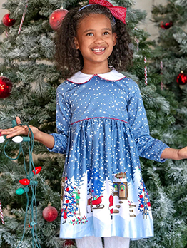 Christmas Snowman Long Dresses For Girls
