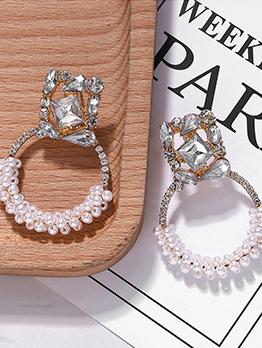 Elegant Rhinestone Decor Pearl Earring