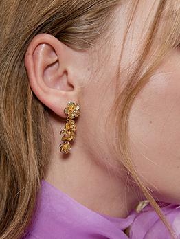 Simple Design Flower Long Earrings For Women