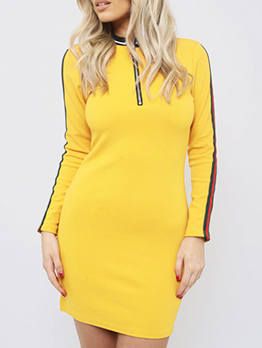Striped Side Fitted Sporty Long Sleeve Dress