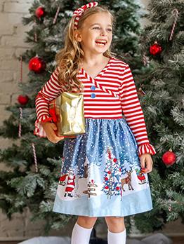 Christmas Snowman Striped Printed Little Girls Dresses