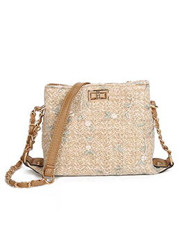 Flower Embroidered Spin Lock Straw Shoulder Bag