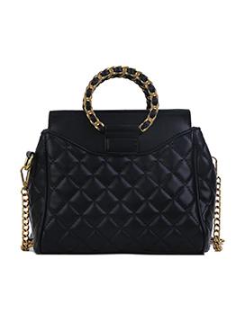 Round Handle Rhombus Pattern Chain Shoulder Bag