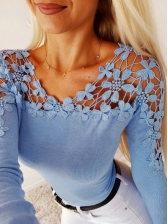 Lace Patchwork Hollow Long Sleeve Shirts