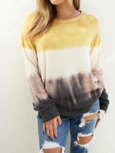Loose Contrast Color Cotton Sweatshirt