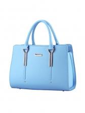 Office Ladies Metal Splicing Pure Color Large Handbags