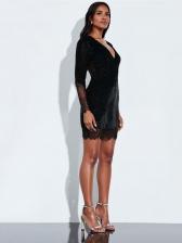 Sexy V Neck Glitter Black Long Sleeve Lace Dress