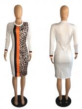 Crew Neck Leopard Printed Long Sleeve Dress