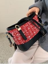 Contrast Color Tweed Patchwork Crossbody Shoulder Bag