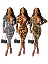 Deep V Neck Leopard Printed Long Sleeve Midi Dress