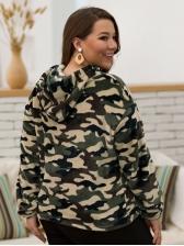 Camouflage Plus Size Velvet Pullover Hoodie