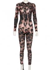 Sport Leopard Printed Long Sleeve Jumpsuit