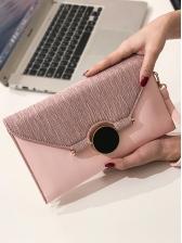 Round Metal Decor Flat Ladies Hand Clutch Bag