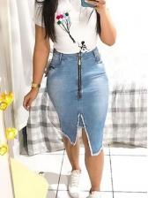 Tassel Zipper Split Denim Skirt