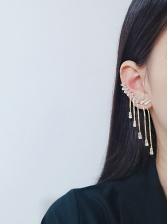 Wing Shape Studded Tassel Earrings