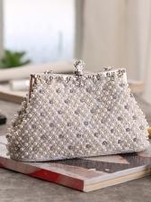 Elegant Pearls Diamonds Handheld Evening Clutch Bags