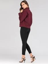 Fashion Wine Red Short Denim Jacket