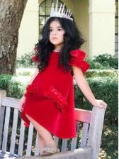 Fashion Pleuche Shoulder Cut Princess Kids Dress