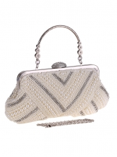 Exquisite Faux Pearls RhinestoneEvening Clutch Bags With Chain