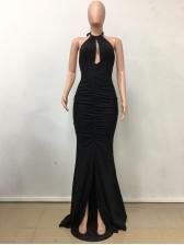 Backless Hollow Out Halter Evening Dress