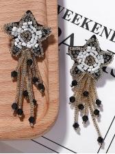 Seed Beads Star Tassel Earrings