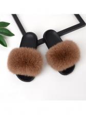 Fashion Fox Fur Slippers For Women
