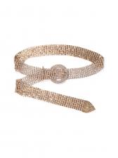 Elegant Rhinestone Decor Gold Belt