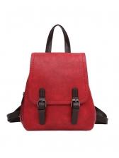 Double Buckle Adjustable Belt Pu Ladies Backpack