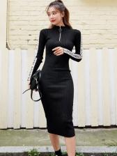 Letter Printed Zipper Up Black Knit Dress