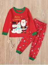 Christmas Snowman Printed Two Piece Pants Set