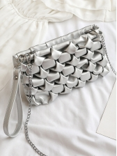 Creative Pleated Soft Pu Solid Color Chain Bag