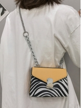 Contrast Color Striped Thick Chain Square Shoulder Bag