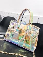 Reflective Specular Pu Metal Lock Chain Shoulder Bag