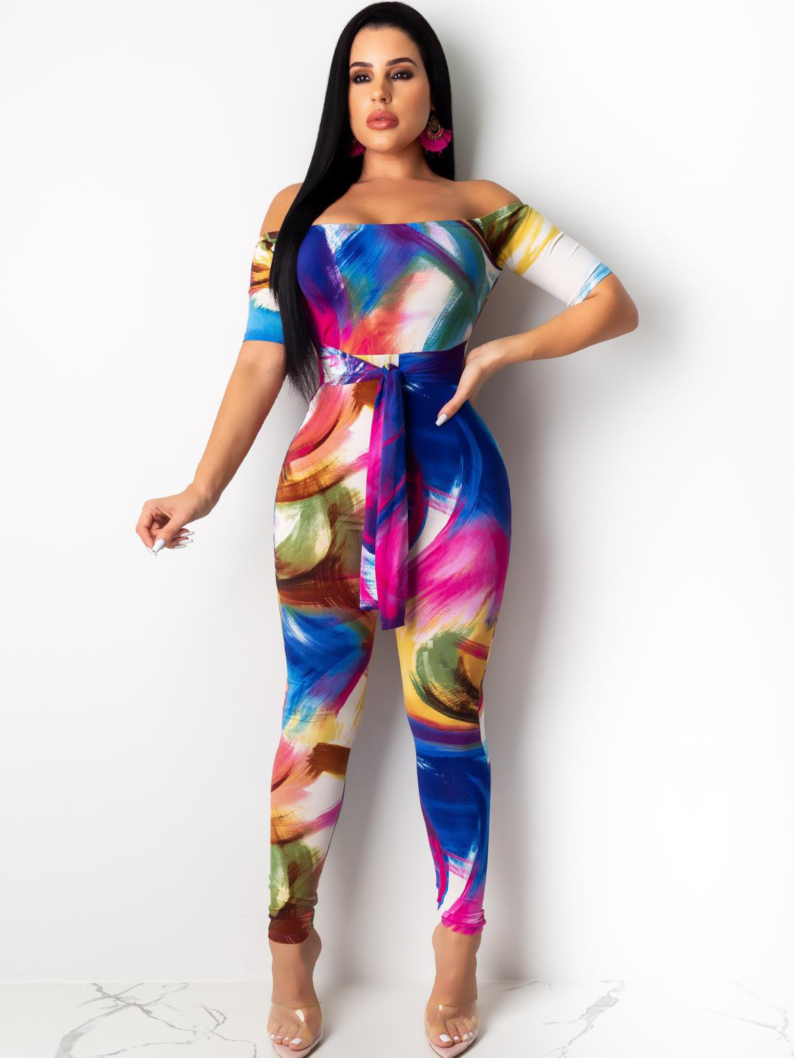 Backless Colorful Off Shoulder Casual Jumpsuits