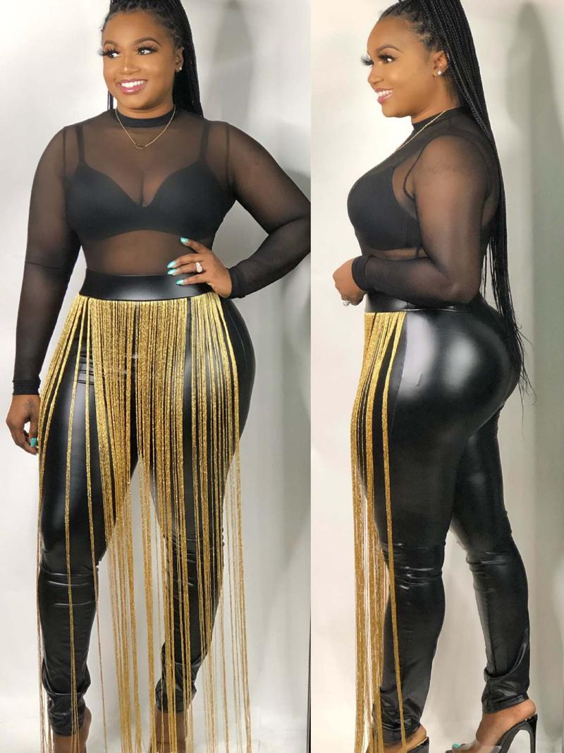 Street Style Skinny Tassel Leather Pants