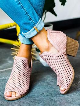 Hollow V Cut Peep Toe Womens Sandals
