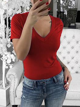 Summer Solid V Neck Short Sleeve T Shirt
