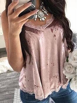 V Neck Velvet Lace Panel Cami Top