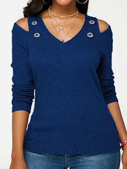 Cold Shoulder Long Sleeve V Neck T Shirt