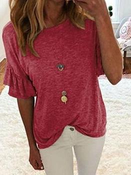 Ruffled Sleeve Crew Neck T Shirts For Women