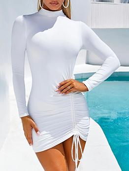 Mock Neck Drawstring Solid Thicker Ladies Dress