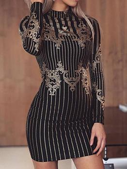 Rhinestone Decor Striped Long Sleeve Dress