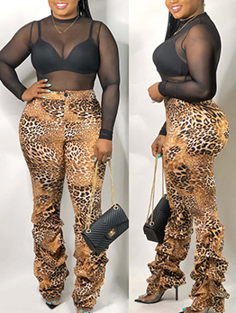 Leopard Print Stacked Pants For Women