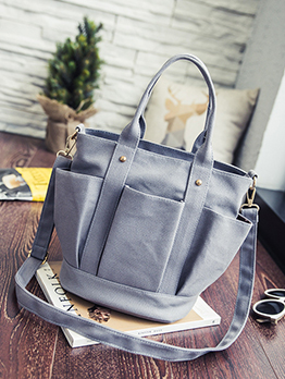 Multiple Pockets Solid Color Large Canvas Handbags