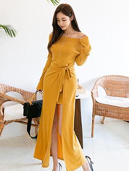 Korean Style Split Hem Tie-Wrap Yellow Maxi Dress