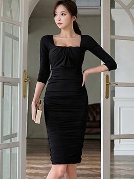 Backless Square Neck Draped Black Ladies Dress