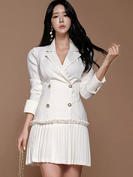 Pleated Hem White Blazer Dress For Women